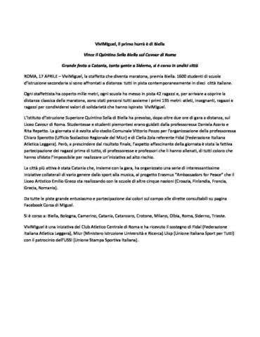 CLASSIFICA VIVIMIGUEL   PRIMA EDIZIONE 2018
